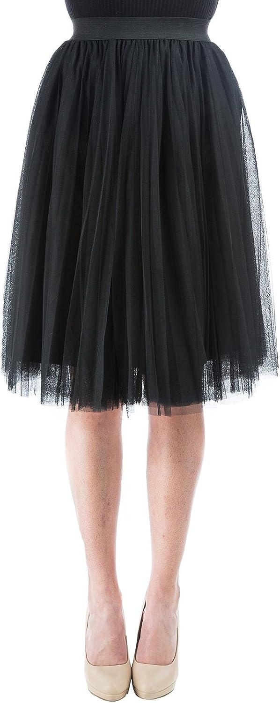 Aerusi Women's Retro Pleated Tulle Overlay Knee Length Skirt Princess Tutu
