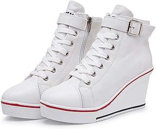 Sneakers Zeppa Donna 35-43 EU Scarpe da Ginnastica Basse Sportive Fitness Tacco Zeppa Scarpe con Zeppa Interna Donna Scarp...
