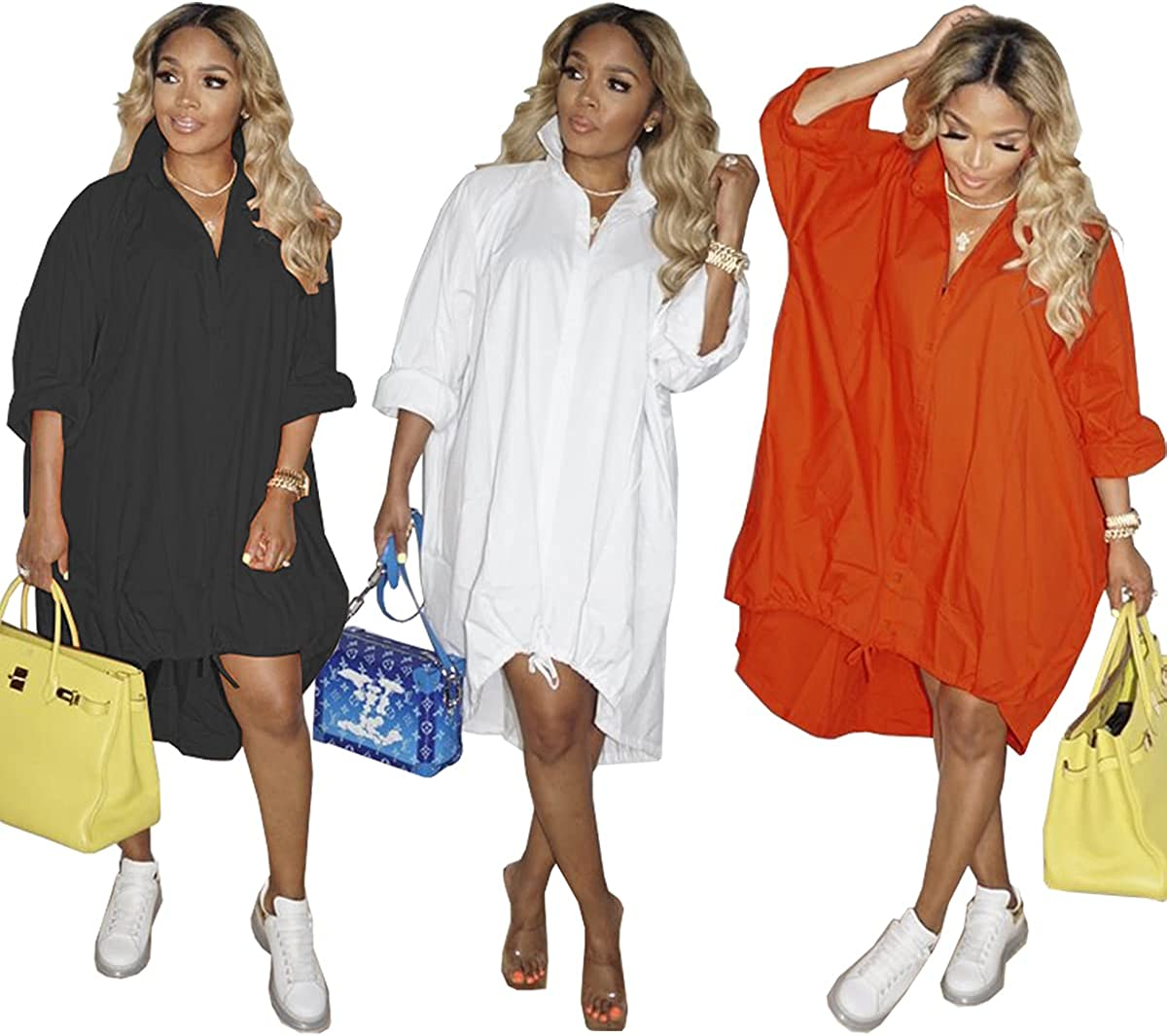 Womens Button Down Shirts Dresses Shirred Long Sleeve Blouse Tops Loose Ruched Flowy Dress