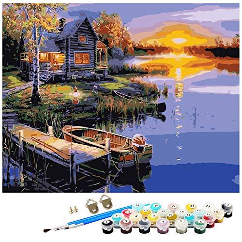 Dream N Jump Malen Nach Zahlen Erwachsene Anfänger Kinder, DIY Ölgemälde auf Leinwand Geschenk Malen Nach Zahlen Kits-Ohne Rahmen (LS2234)