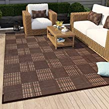 MontVoo Large Outdoor Rugs 6' x 9' Easy Cleaning Reversible Mats Waterproof Patio Rug Non-Slip Portable Outdoor Carpet for RV Camping Patio Deck Garden Brown and Red