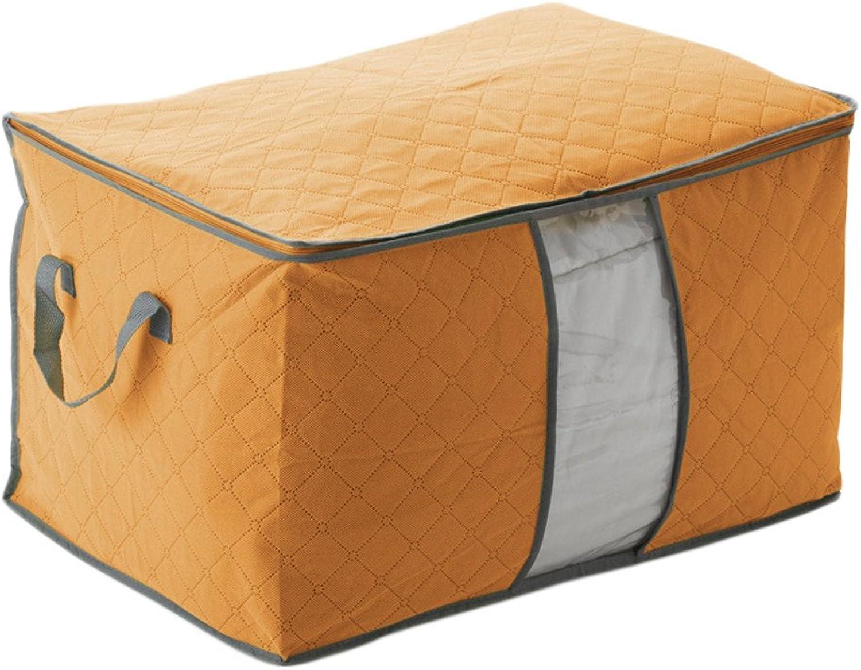 Clothing Organizer Non-Woven Clothes Storage Boxes Quilt Duvet Storage Bin Quilt Storage Box,60x42x36cm,orange