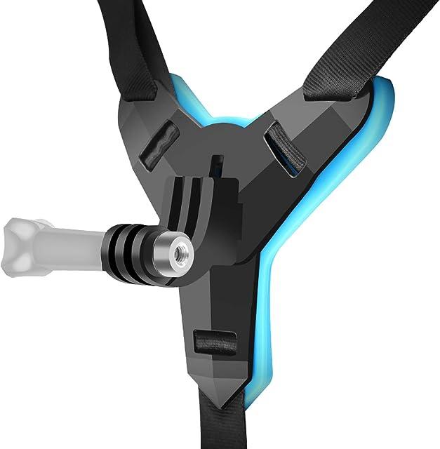 SHOOT Soporte de Fijación Titular de la Barbilla del Casco de la Motocicleta Cinturón de Casco Integrado para Cámara de Acción Deportiva para Gopro Hero 8/ Hero 7 / Hero 6 / Hero 5 / Yi/SJ CAM