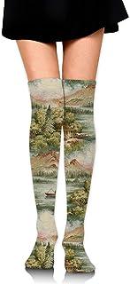 Coral Green and Blue Lodge Calcetines largos hasta la rodilla unisex Botas Calcetines largos Longitud 60cm