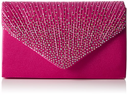 Swankyswans Damen Abby Diamante Envelope Style Bag Tasche, Pink (Rose), One Size