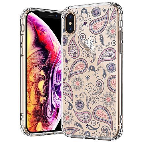 MOSNOVO iPhone XS MAX Hülle, Paisley Blühen Blumen Muster TPU Bumper mit Hart Plastik Hülle Durchsichtig Schutzhülle Transparent für iPhone XS MAX (Paisley)