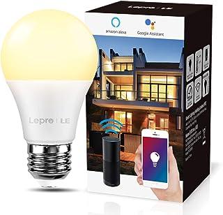 LE Bombilla LED Inteligente WiFi Ajustable,Smart WiFi E27 9W = 60W, Control Remoto y Control de Voz, Fonciona con Alexa y Google Home, Blanco Cálido 2700K, 806m, No Se Requiere Hub, Paquete de 1