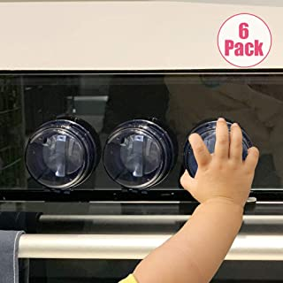 Eudemon 6 Pack Suit for Small Gas Knob,Safety Children Kitchen Stove Knob Covers & 12 Pack US Type Socket Plug Cover (6 Pack, Grey 1.57