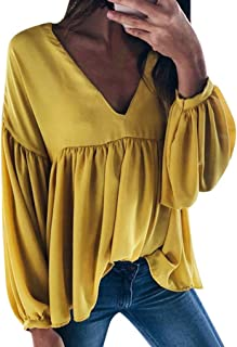 Sceoyche Fashion Women Casual V-neck Long Sleeve Pleated Cotton Linen Blouse Tunic Tops