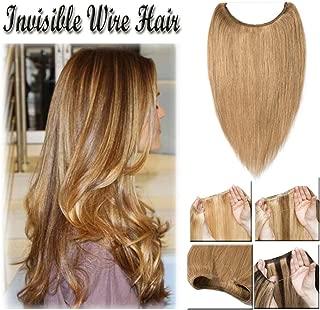 "16-22inch Hidden Wire Hair Extensions Human Hair Crown in Hairpiece Secret Translucent Fish Line No Clip Miracle Headband - 16"" Dark Blonde 27#"