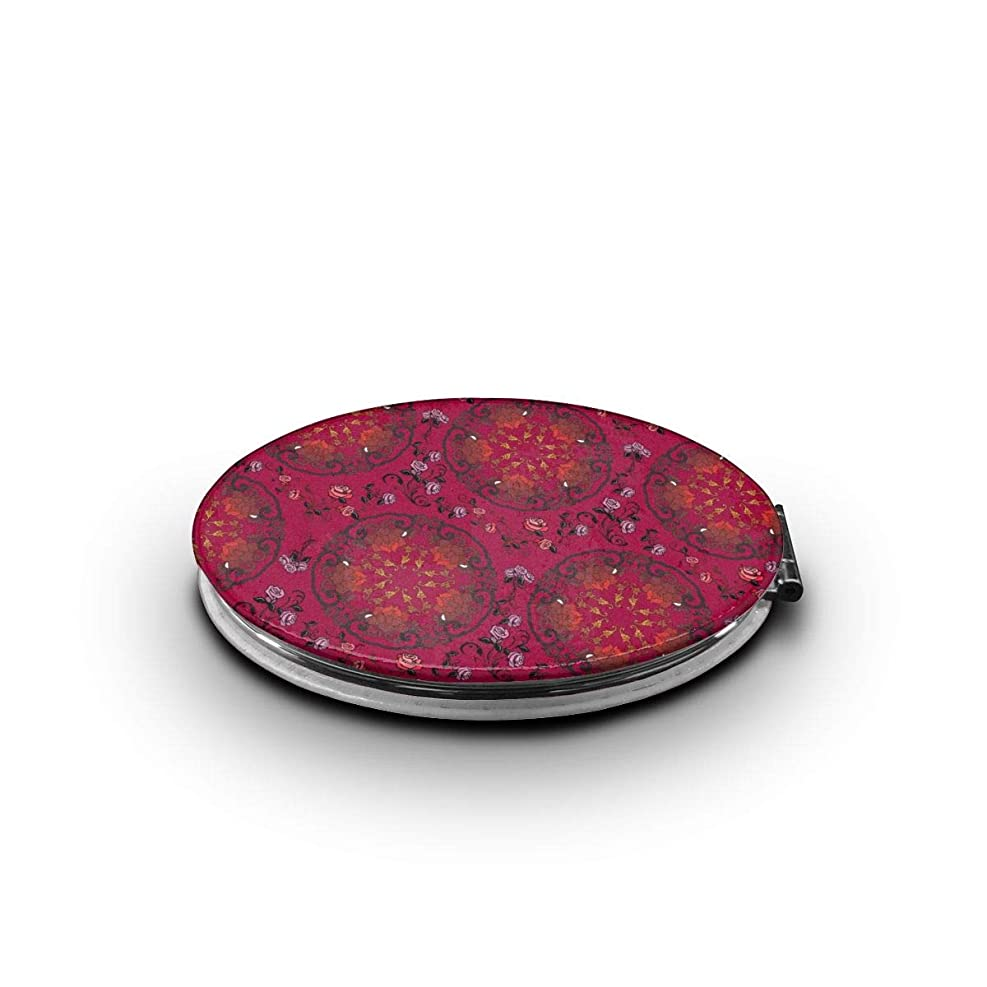 昨日ケーキ不良品携帯ミラー レトロな花柄ミニ化粧鏡 化粧鏡 3倍拡大鏡+等倍鏡 両面化粧鏡 楕円形 携帯型 折り畳み式 コンパクト鏡 外出に 持ち運び便利 超軽量 おしゃれ 9.0X6.6CM