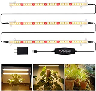 LED Grow Light Strips 3500K 90-Bulb Full Spectrum Dimmable Plant Growing Lamp Bars with Timer for Indoor Plants Succulents...