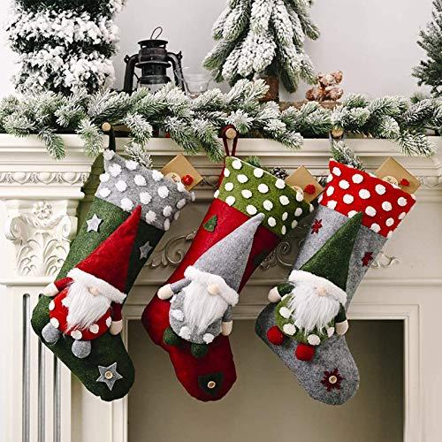 3er Set Weihnachtsstrumpf, Groß Weihnachtssocken Beutel, Nikolausstrumpf für Kinder Mädchen, Klassische Kamin hängende Strümpfe Deko für Weihnachtsdeko Weihnachtsfeier Weihnachtsbaum Dekorieren
