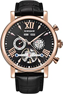 BINSSAW Men Tourbillon Automatic Mechanical Watch Luxury Brand Leather Fashion Casual Stainless Steel Sports Watches for Male