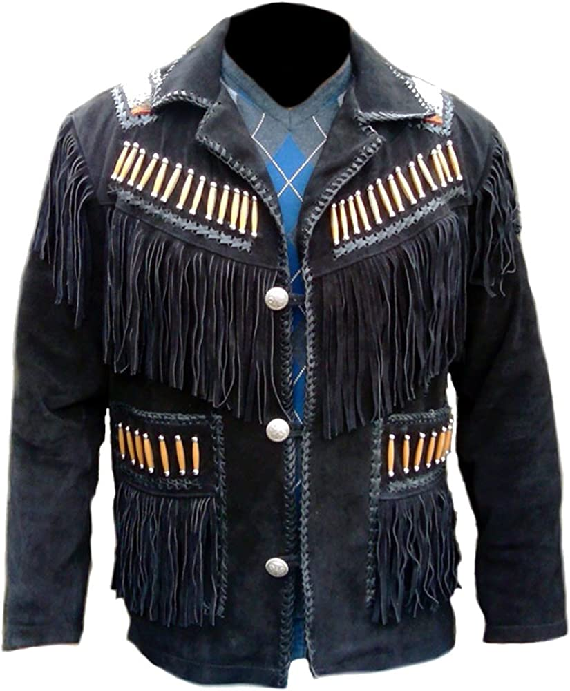 SRHides Men's Cowboy Leather Coat Fringed, Beaded & Bones