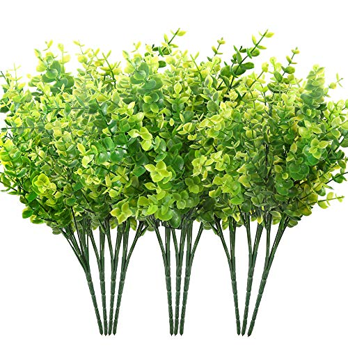 Auihiay 10 Bundles Artificial Greenery Stems Boxwood Shrubs Artificial Grasses Fake Outdoor Plants for Home Garden Porch Window Box Decoration