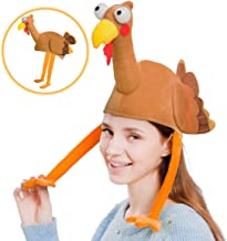 Plush Turkey Gobbler Hat with Long Neck for Happy Thanksgiving Party Costume, Outfit and Dress