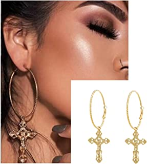 Silver Gold Cross Hoop Earrings - Color Cross Drop Earrings for Women Vintage Fashion Jewelry