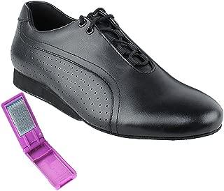 Very Fine Ballroom Latin Tango Salsa Dance Shoes for Men SERO101BBX Flate Heel + Foldable Brush Bundle