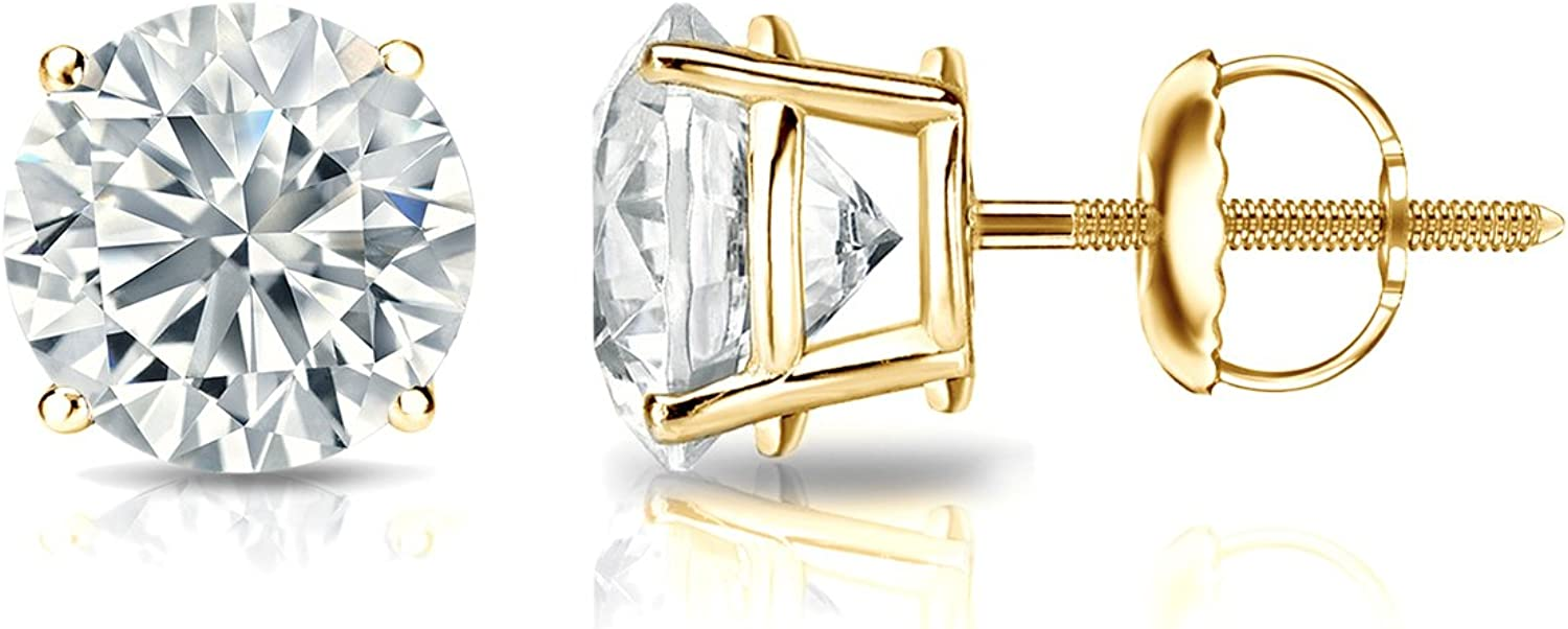 At the price of surprise GIA Certified 14k Yellow Gold Diamond 4-Pron Max 71% OFF Stud Round Earrings