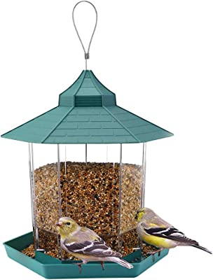 Hanging Wild Bird Feeder Gazebo Birdfeeder Outside Decoration - Perfect for Attracting Birds on Outdoor Garden Yard for Bird Lover Kids, 2.6lb Capacity Hexagon Shaped with Roof Avoid Weather and Water