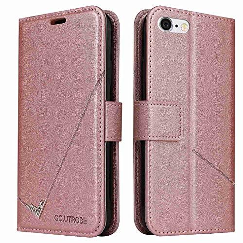 MOONCASE Funda para iPhone 7, Premium Cuero Billetera Ranura Tarjeta Antichoque Soporte Plegable Funda para iPhone 7 - Oro Rosa