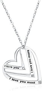 "Victoria Jewelry""I love you,I love you more,I love you most"" Engraved Pendant - 925 Sterling Silver Heart Necklace for Women"