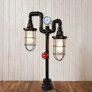 European Retro Steam Punk Industrial Wind Table Lamp Living Room Study Water Pipe Lamp Personalized Creative Floor Lamp E272 Bedside Desk Light