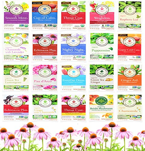Traditional Medicinals Tea Bag Sampler Assortment Variety Pack Gift Box - 40 Count - Perfect Variety Medicinal Tea – Cold Care Tea, Night Time Tea, Peppermint Tea, Detox Teas, Digestion Tea, Sleep Tea