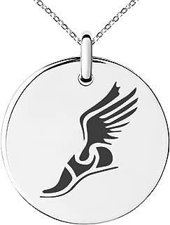 Stainless Steel Hermes Greek Messenger of Gods Symbol Small Medallion Circle Charm Pendant Necklace