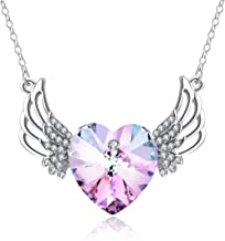 PLATO H Angel Crystal Necklace Angel Wing Necklace Love Heart Crystal Guardian Angel Pendant Necklace, Heart Wing Pendant Necklace, Guardian Heart Shape Angel Necklace, Gift Packaging