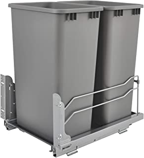 Rev-A-Shelf 50 Quart Pull Out Sliding Double Waste Trash Container Bin, Silver