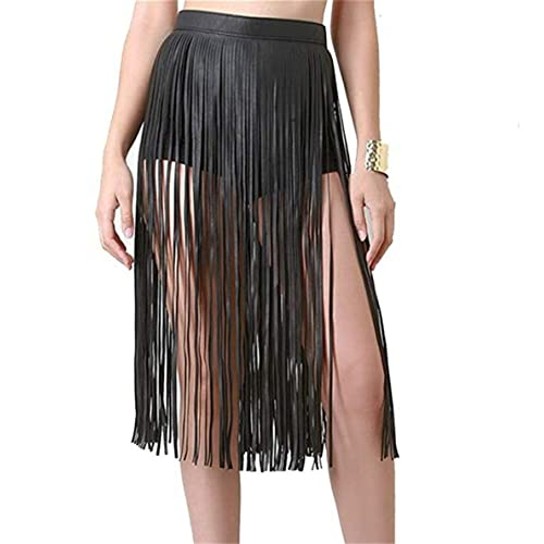 472ea24ff5 Mrotrida Women's Tassels Leather Skirt Summer Fashion Adjusted PU Long Fringe  Dress Belts Black
