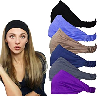 QING Headbands for Women Sweat Wicking Scarf Bandana Elastic Headband Wrap Pack of 6