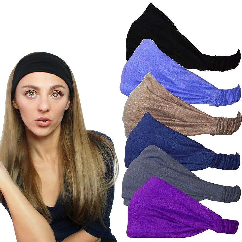 QING Headbands for Women Sweat Wicking Head Scarf Bandana Elastic Headband Wrap Pack of 6