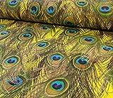 Jersey, Pfauenfedern auf Gelb als Meterware zum Nähen -