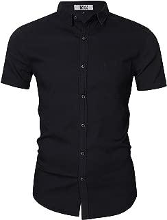 Men's Button Down Shirts Short Sleeve Denim Work Shirt Slim Fit Dress Shirts for Men