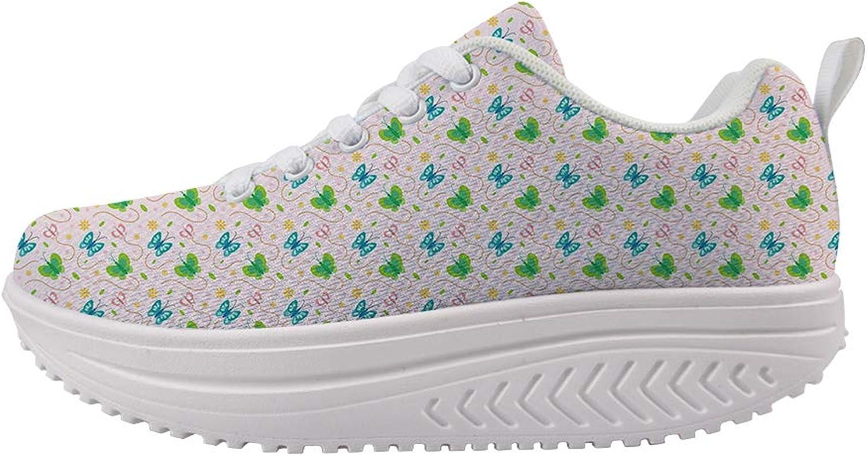 Owaheson Swing Platform Toning Fitness Casual Walking shoes Wedge Sneaker Women Free Flying colorful Butterflies