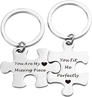 Couples Puzzle Piece Keychains Keyring Puzzle Jewelry Couple Gift You are My Missing Piece,You Fit Me Perfectly
