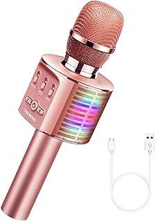 TECBOSS Microphone for Kids, Wireless Bluetooth Karaoke Microphone MP3 Players with LED..