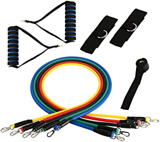 11 PCS Set Resistance Bands Home Gym Equipment for Men Women Exercise Workout Fitness Set with 5 Tubes, Door Anchor, 2 Han...
