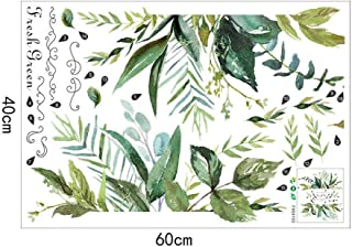 888mili Green Leaf Rustic Style Wall Sticker,Modern Art Vinyl Decal Wall Mural Skirting Board Wall Sticker Home Decoration Wallpapers,Design Your Own Pattern,Cut Into A Favorite Shape,Free DIY