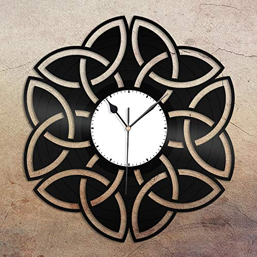 Bernhard Products Black Wall Clock, Celtic Knot Vinyl Wall Clock Unique Gift for Friends Home Room Decoration Vintage Design Office Bar Room Home Decor