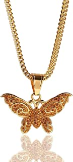 Hiphop Necklace, الهيب هوب مثلج خارج بلينغ فراشة قلادة 18k قلادة مطلية بالذهب للرجال النساء مع 24 سلسلة رابط كوبية