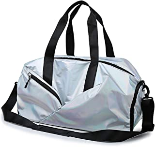 Sports Gym Bag,Weekend Bag With Shoes Compartment And Wet Pocket For Luggage Gym Sports, (Color : Silver)