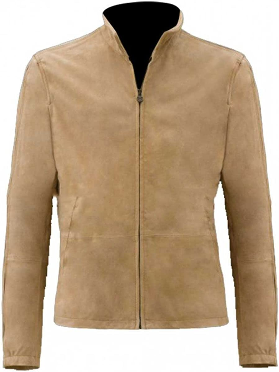LP-FACON Mens Morocco Daniel Blouson Brown Suede Leather Jacket