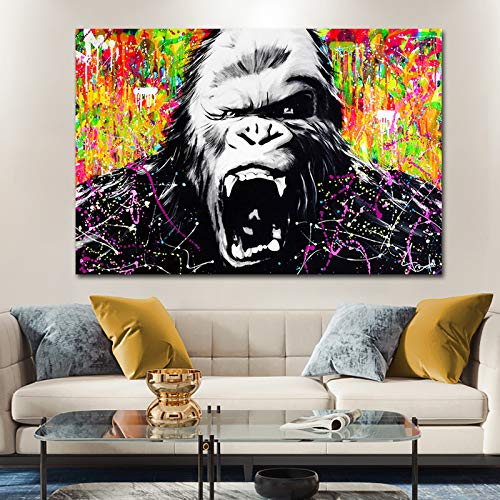 KWzEQ Gorilla Leinwand Malerei Hauptdekoration Poster Bild Wohnzimmer Dekoration,Rahmenlose Malerei,30x45cm