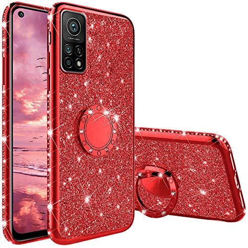 Funda para Xiaomi Mi 10T 5G, Glitter Brillante Diamante con 360 Grado Anillo Kickstand Ultra Delgada Premium Fina Resistente Silicona TPU Doble Capa Anti Choques Protectora Carcasa - Rojo