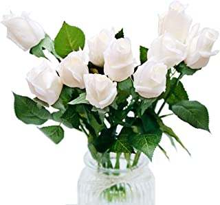 DuHouse 10pcs Artificial Silk Roses Fake Real Touch Flowers Faux Bridal Bouquet for Wedding Home Garden Decor (White Real Touch)