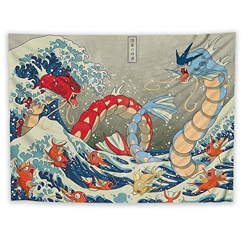 JackGo7 Tapiz japonés Gyarados para Colgar en la Pared, para sofá, Cama, Manta de Playa, decoración del hogar, Dormitorio, Regalo